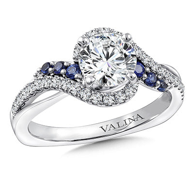 image of engagement ring with colored side stones