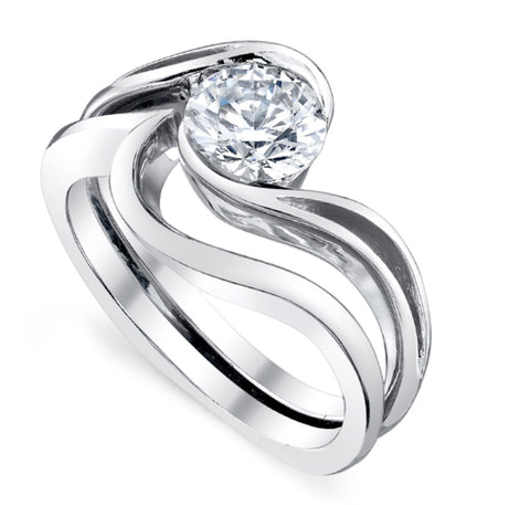 image of engagement ring with matching wedding band