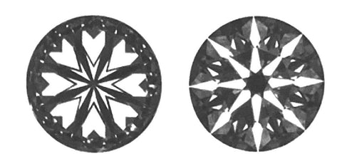hearts and arrows pattern shown in an ideal cut diamond