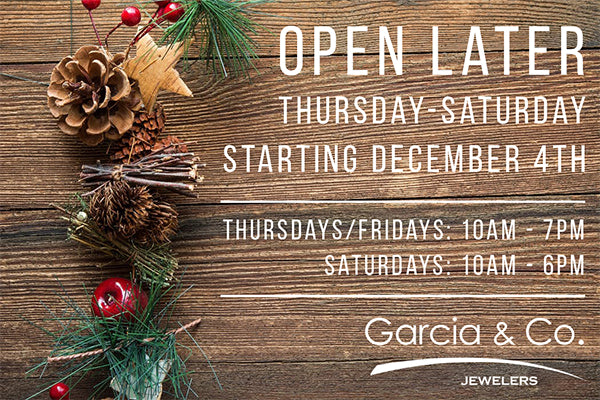 image of holiday hours at Garcia & Co. Jewelers in Farmington NM