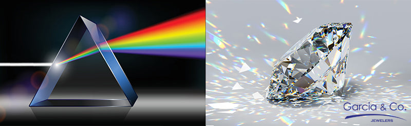 prism and diamond refracting light