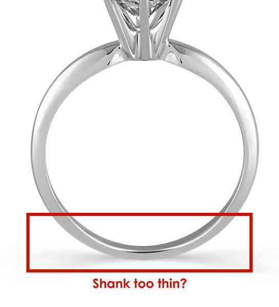image of engagement ring with thin shank