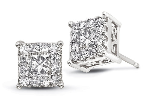 image of square diamond studs