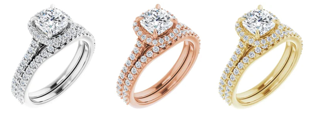 image of engagement rings in rose, white, and yellow gold