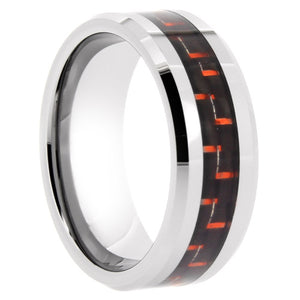 Tungsten Ring with Red Carbon Fiber