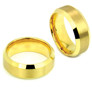 Gold Tungsten Ring with Satin Finished Center and Mirror Edges