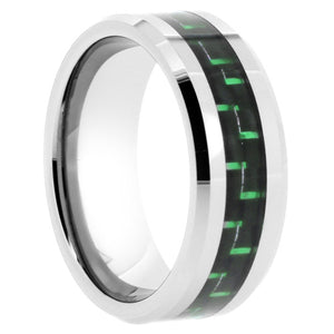 Tungsten Ring with Green Carbon Fiber