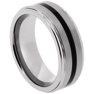 Tungsten Ring with Black Resin Center Strip