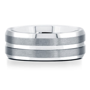 Tungsten Ring with Matte Finish and Polished Groove