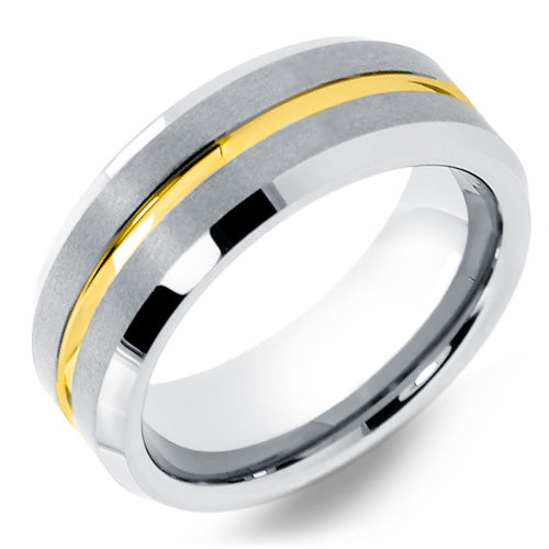 Tungsten Ring in Matte Finish and Gold Center Groove