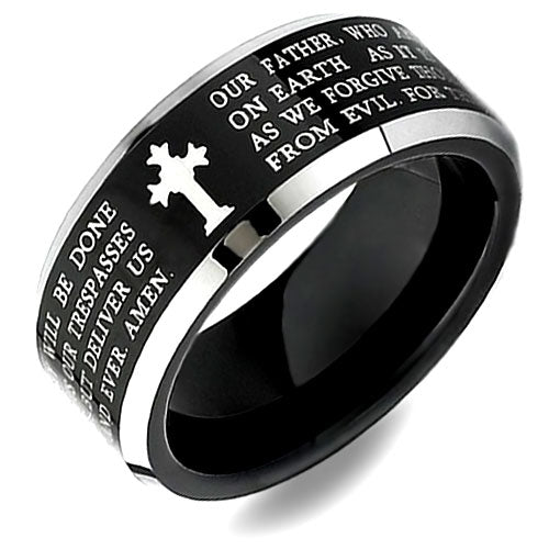 Two-Tone Black Tungsten Cross Ring