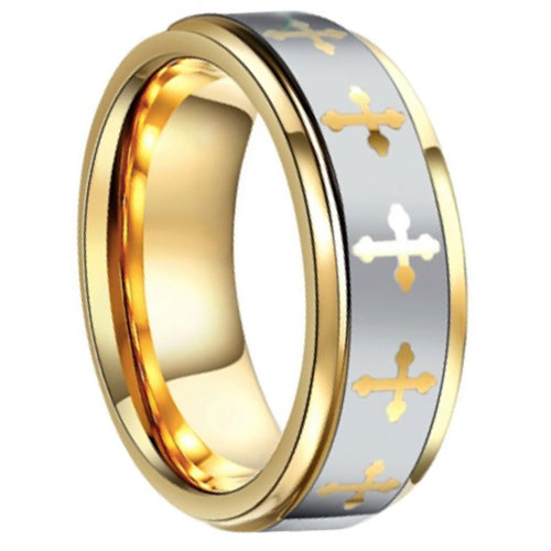Two-Tone Gold Tungsten Cross Ring