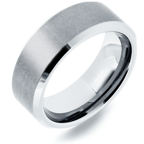 Tungsten Ring with Satin Finish Center and Beveled Edges