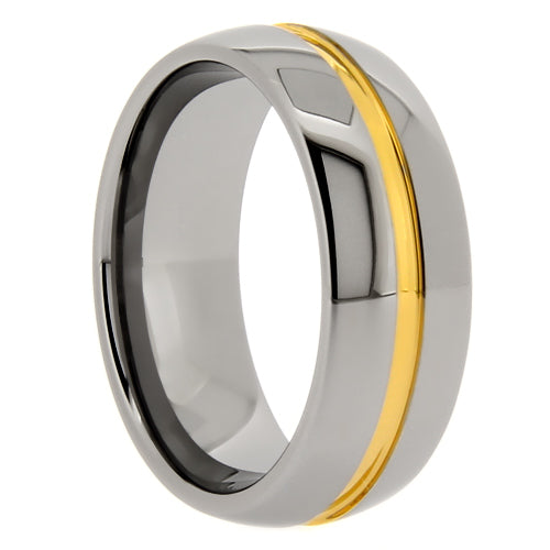Tungsten Ring with Gold Center Groove