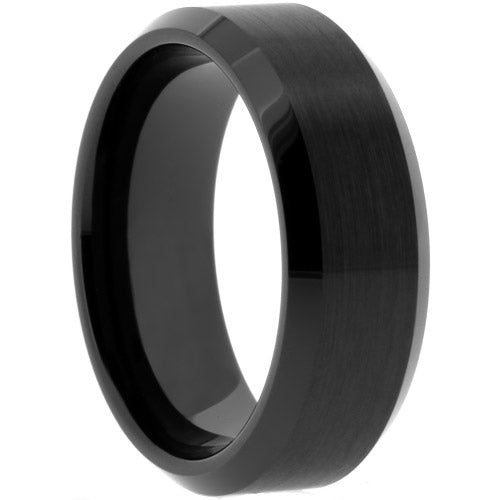 Black Tungsten Ring with Matte Center and Beveled Edges