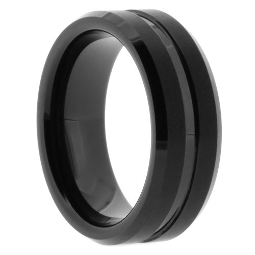 Black Tungsten Ring with Matte Finish and Polished Groove