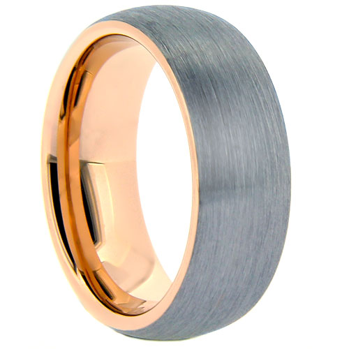 Brushed Tungsten Ring with Rose Gold