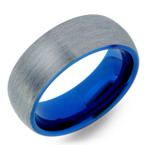 Brushed Tungsten Ring with Blue Inside & Edges
