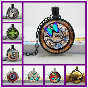 Glass Butterfly Clock Necklace