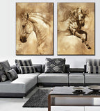 2 Pcs/Set Modern  Oil Painting Horse On Canvas Wall Picture