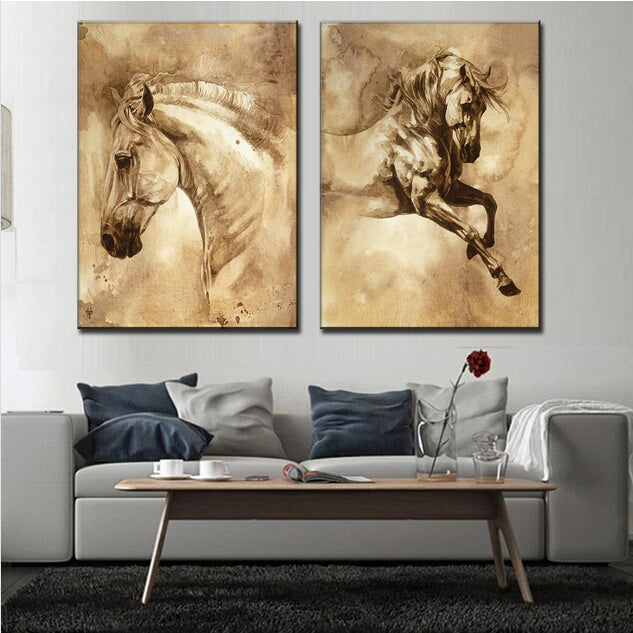 2 Pcs Set Modern Oil Painting Horse On Canvas Wall Picture