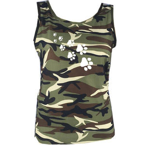 New Camouflage Dog Paw Print Top