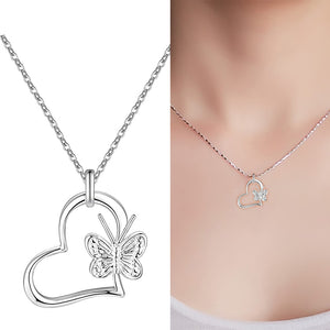 Silver Heart & Butterfly Necklace