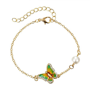 New Crystal Butterfly and Flower Charm Bracelet