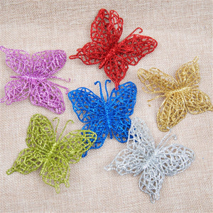 Set/6pcs Shinny Butterfly Decorations Xmas