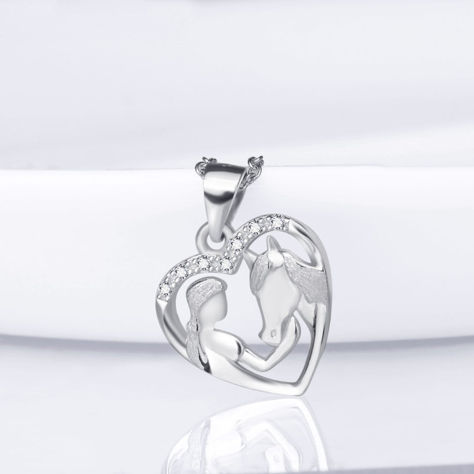 New Arrival Girl feeding horse Heart Pendant Necklace
