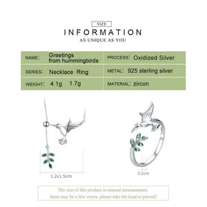 Silver Hummingbirds Jewelry Set