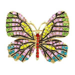 Crystal Rhinestones Butterfly Brooches