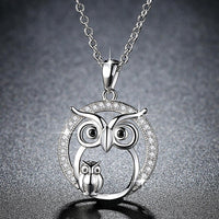 Crystal Sliver Owl Necklace