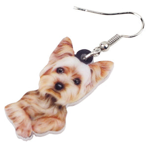 New 3D Yorkshire Terrier Dog Drop Earring For Women