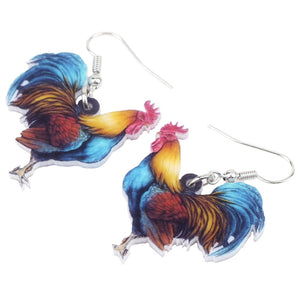 Floral Rooster Chicken Earrings For Girl Women Ladies