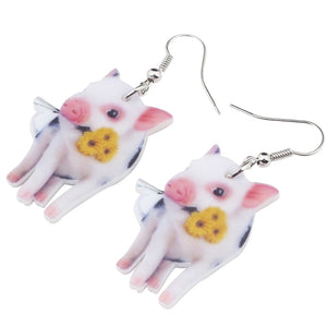 New Flower Pink Pig Earrings