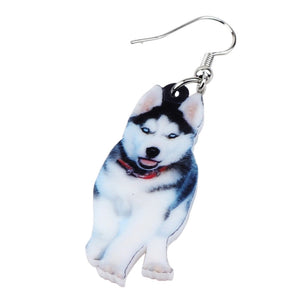 Siberian Husky Dog Earrings for Women