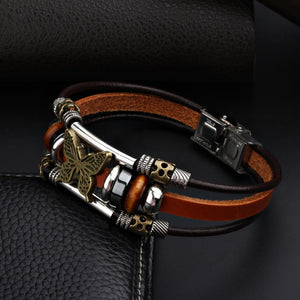 Hand Made Butterfly Charm Leather Bracelets