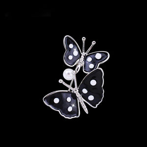 Double Black Butterfly Brooch