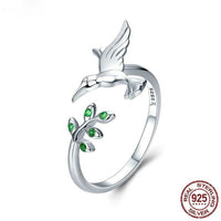 New Hummingbird & Leaves Ring