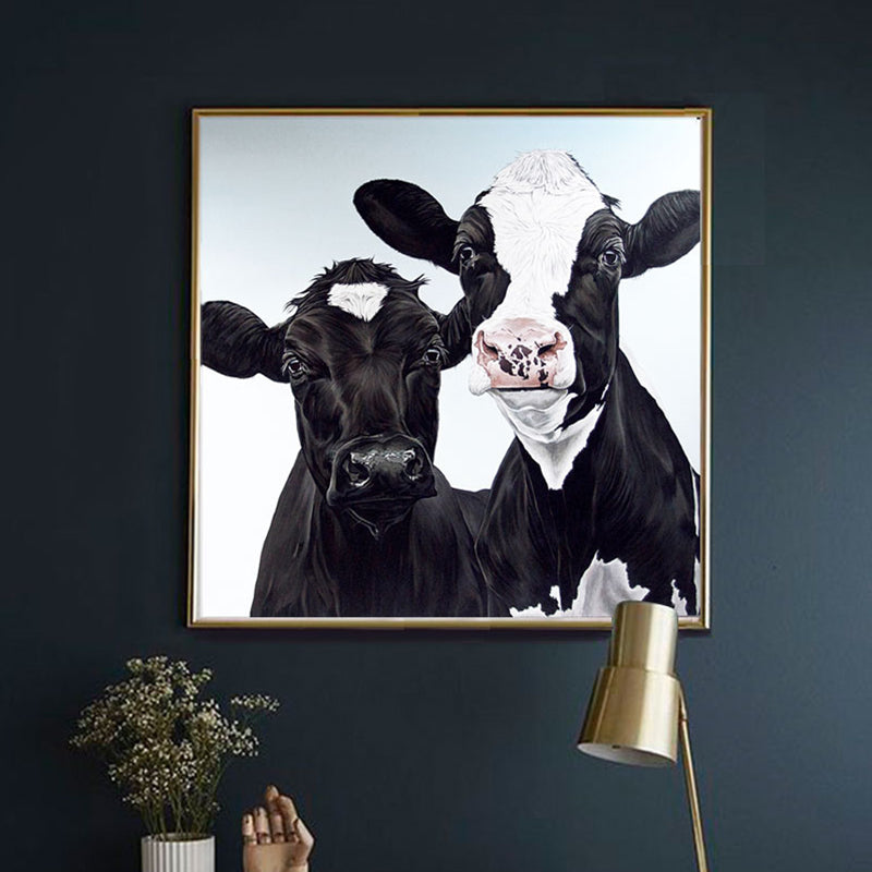 New Black Cow Animals Poster Print Canvas Wall Art
