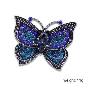 Vintage Blue Rhinestone Butterfly Brooches