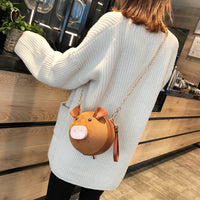 Crossbody Bag  Cute Pig Round Tote Bag For Women