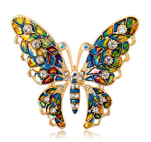 Colorful Crystal Butterfly Brooches