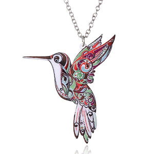Colorful Hummingbird Pendant Necklace
