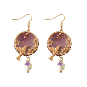 Flower Hummingbird Earrings