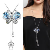 Crystal Blue Butterfly Necklace