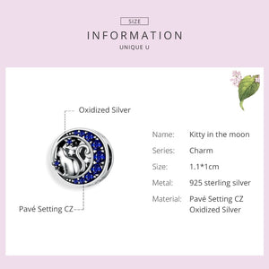 Long Tail Cat & Moon Charm Pandora