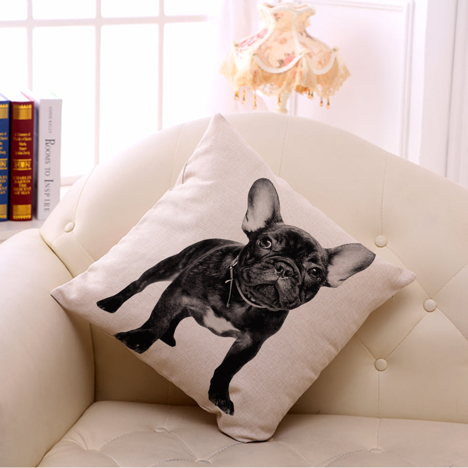 "New 18"" Cotton Linen French Bulldog - Square Decorative"