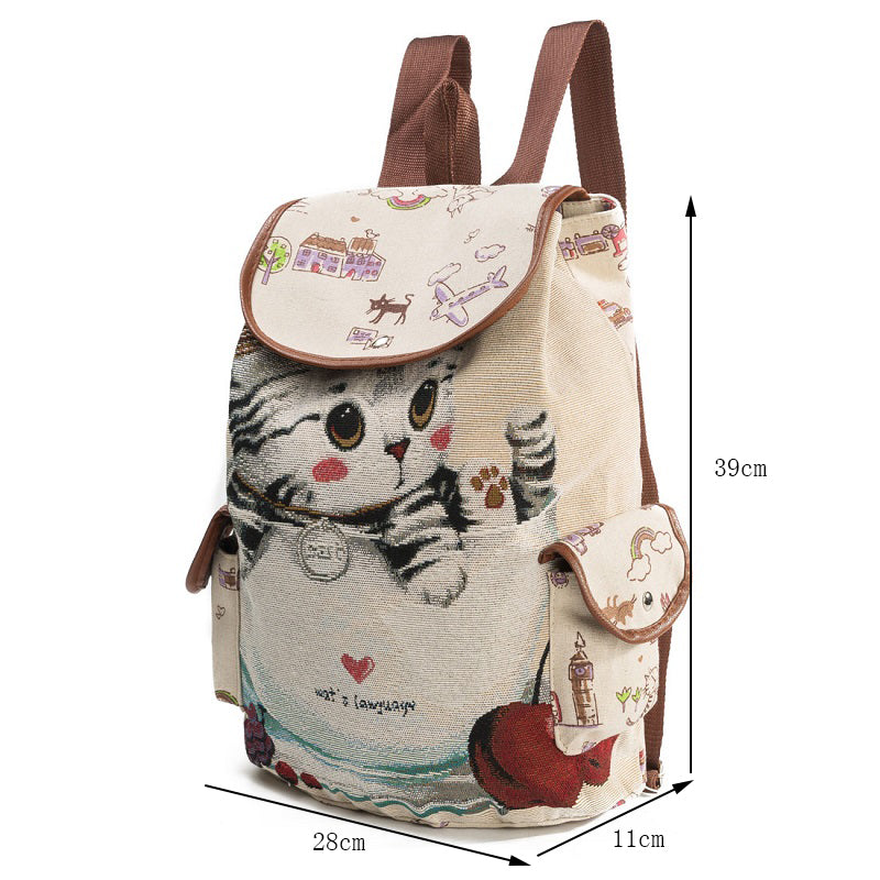 New Cat Backpack for Women - Canvas Backpack Drawstring Printing